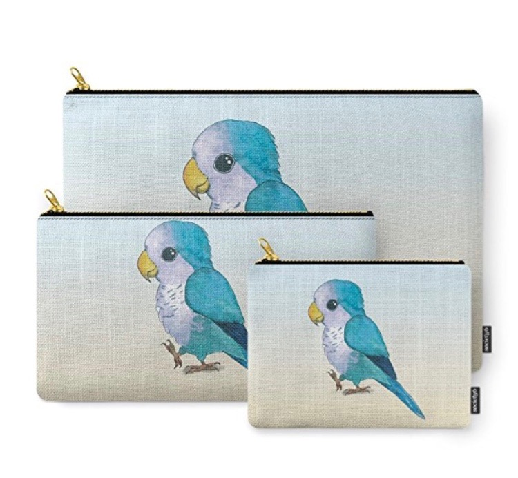 Gift Guide for Parrot Lovers blue parrot pouch Society6
